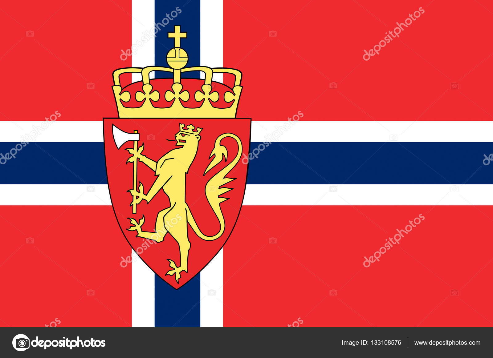 Flag of Kingdom of Norway, is a sovereign and unitary monarchy of the Scandinavian Peninsula. 3d illustration